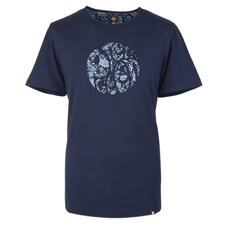Mens Ditsy Print Applique Logo T -Shirt