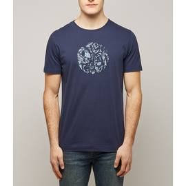 Navy Ditsy Print Applique Logo T-Shirt