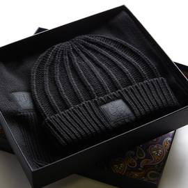 Black  Knitted Beanie And Scarf Gift Set