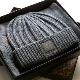 Grey Marl  Knitted Beanie And Scarf Gift Set