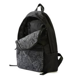 Black  Nylon Backpack With Paisley Pocket