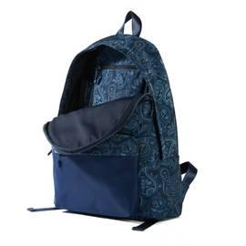 Navy Nylon Paisley Backpack With Plain Pocket