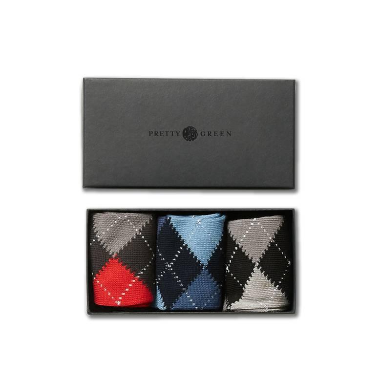 Mens 3 Pack Argyle Sock Gift Set