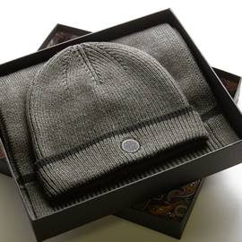 Grey Marl  Tipped Knitted Beanie And Scarf Gift Set