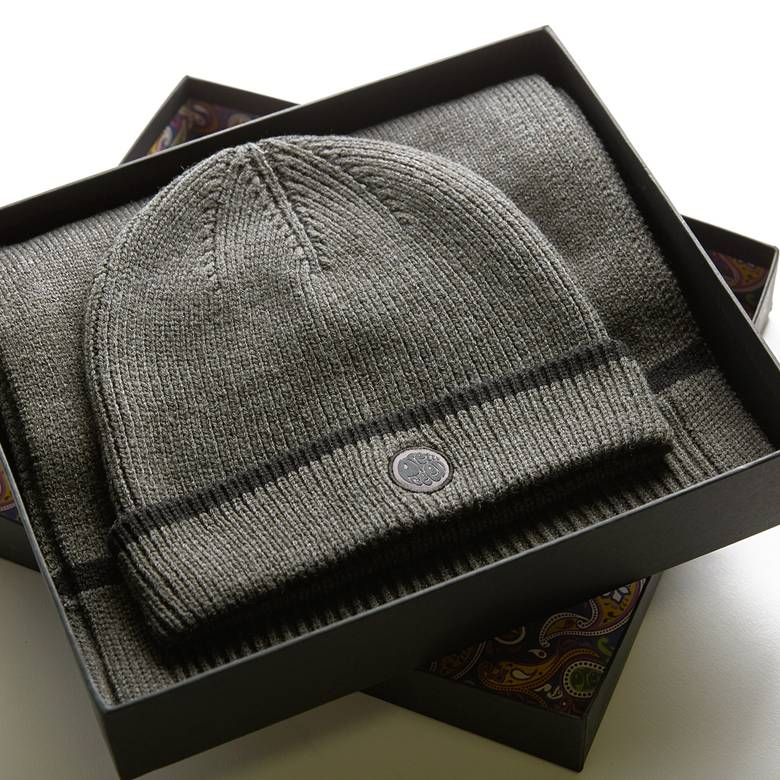 Mens Tipped Knitted Beanie And Scarf Gift Set