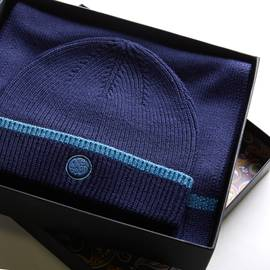 Navy  Tipped Knitted Beanie And Scarf Gift Set