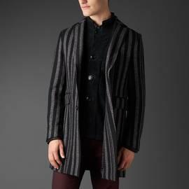 Black  Wool Stripe Coat