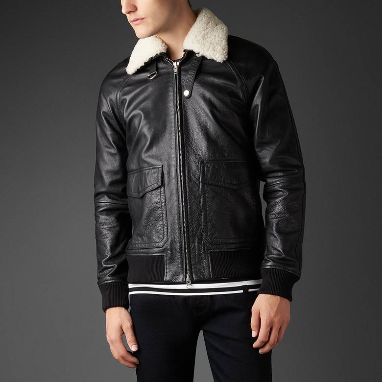 Mens Leather And Shearling Jacket