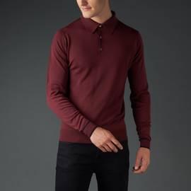 Burgundy  Long Sleeve Merino Knitted Polo
