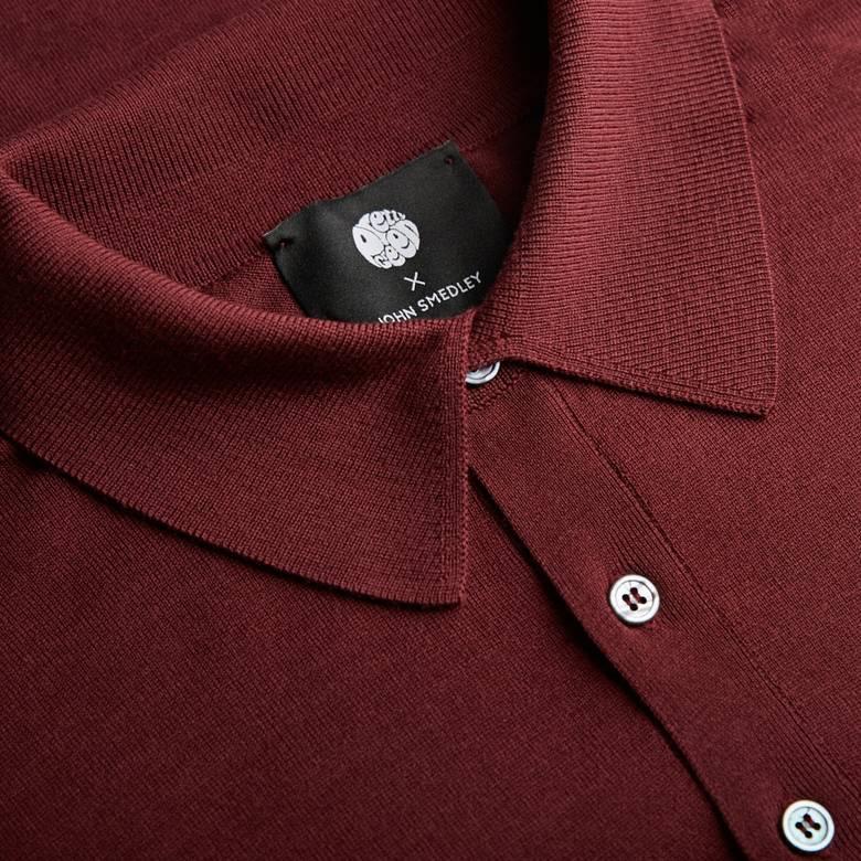 Mens Long Sleeve Merino Knitted Polo