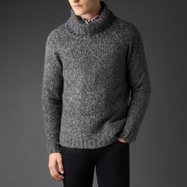 Grey Knitted Roll Neck Jumper