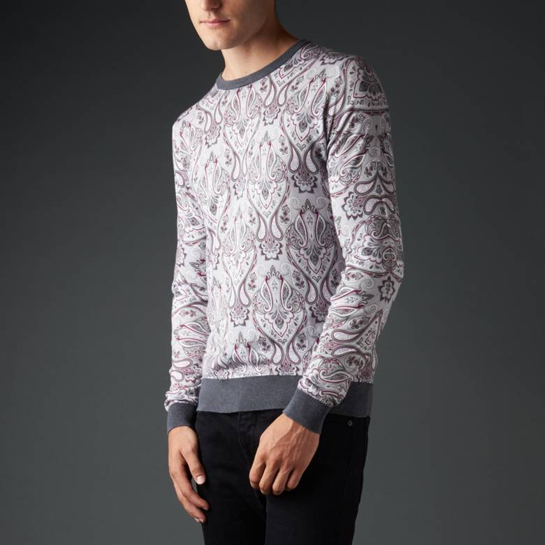 Mens Cotton Paisley Print Knitted Jumper