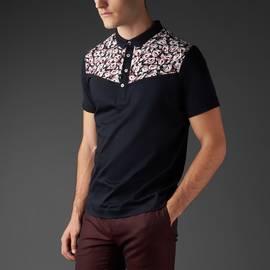 Black  Blocked Floral Print Polo Shirt