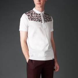 White  Blocked Floral Print Polo Shirt