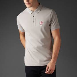Grey  Floral Embriodery Polo Shirt