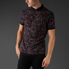 Black  Pique Paisley Print Polo Shirt