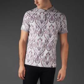 Grey  Pique Paisley Print Polo Shirt
