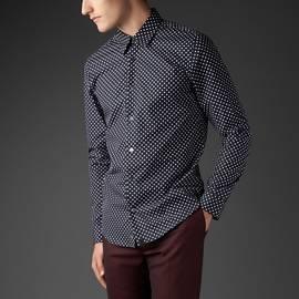 Black  Slim Fit Polka Dot Shirt