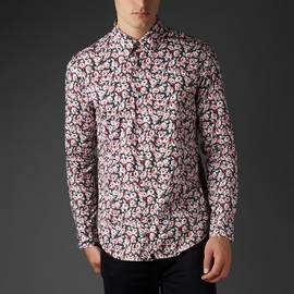 Black  Slim Fit Floral Print Shirt