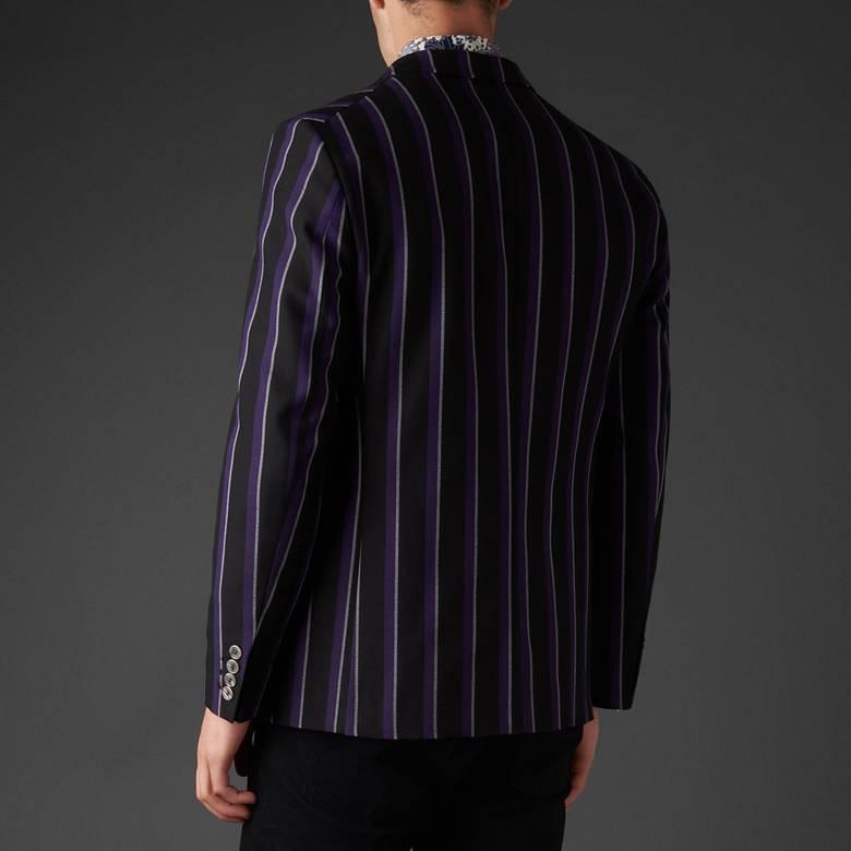 Mens Stripe Single Breasted Blazer