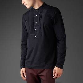 Black  Long Sleeve Grandad Bib T-Shirt