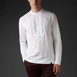 White  Long Sleeve Grandad Bib T-Shirt