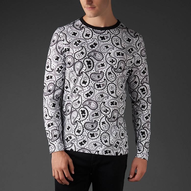 Mens Long Sleeve Paisley Print T-Shirt