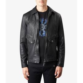 Black  Leather  Zip Through Jacket