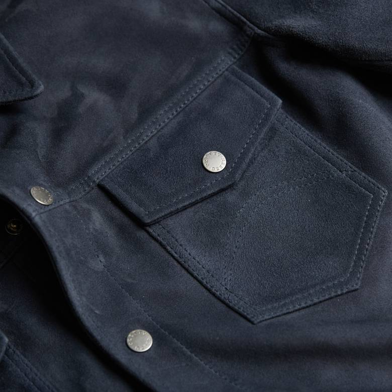 Mens Suede Button Up Jacket