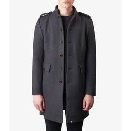 Charcoal  Wool Single Breasted Coat
