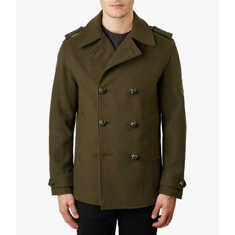 Mens Wool Double Breasted Peacoat