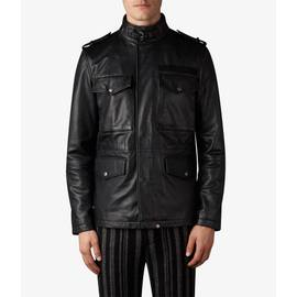 Black  Leather  Zip Through M65 Jacket