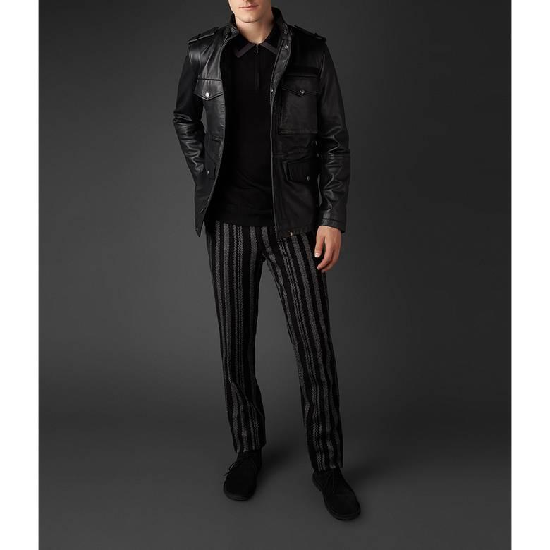 Mens Leather  Zip Through M65 Jacket