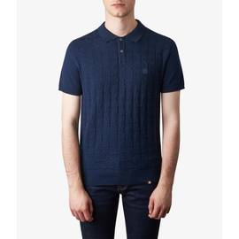 Navy  Knitted Jacquard Polo Shirt