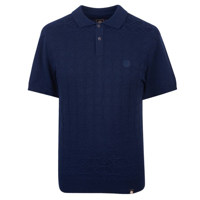Mens Knitted Jacquard Polo Shirt