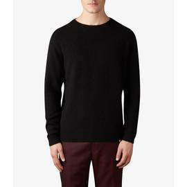 Black Textured Crew Neck Knitted Jumper