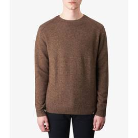 Mid Brown Textured Crew Neck Knitted Jumper