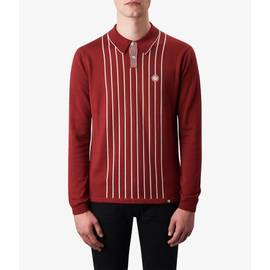 Dark Red  Center Striped Knitted Polo