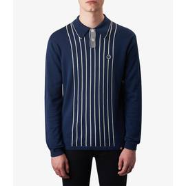 Navy  Center Striped Knitted Polo