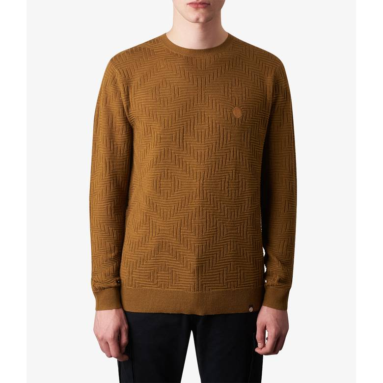 Mens Knitted Jacquard Crew Neck Jumper