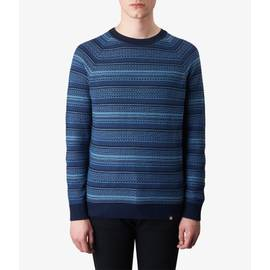 Navy  Striped Crew Neck Knitted Jumper