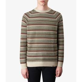 Stone  Striped Crew Neck Knitted Jumper
