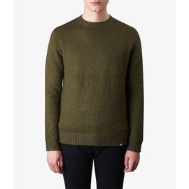 Khaki  Knitted Jacquard Crew Neck Jumper
