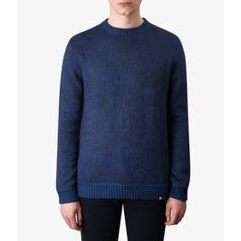 Navy  Knitted Jacquard Crew Neck Jumper