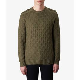 Khaki  Cable Knit Crew Neck Jumper
