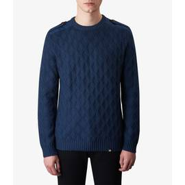 Navy  Cable Knit Crew Neck Jumper