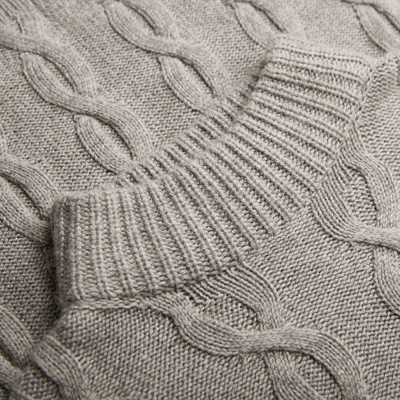 Mens Alpaca Cable Knit Roll Neck Jumper