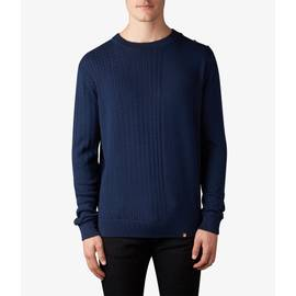 Navy  Gradual Cable Knit Crew Neck Jumper