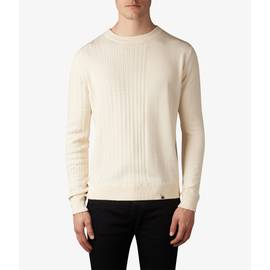 Stone  Gradual Cable Knit Crew Neck Jumper