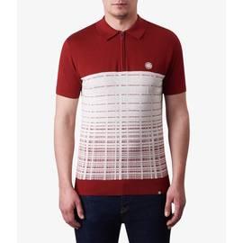 Dark Red  Half Zip Knitted Polo Shirt